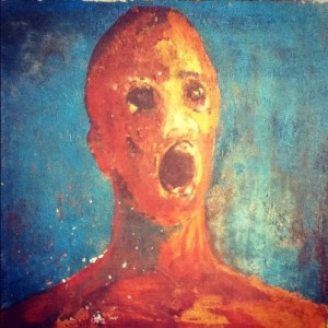 Anguished man painting